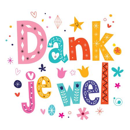 Dank je wel - thank you in Dutch type lettering card Illustration