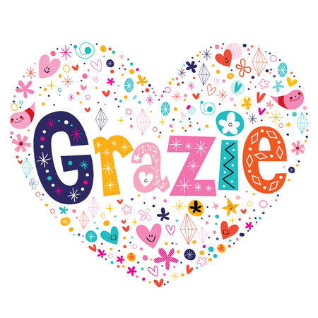 type lettering: Grazie thank you thanks in Italian type lettering heart shaped card Illustration