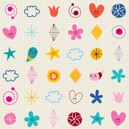 swatch book: cute characters note book paper seamless pattern Illustration