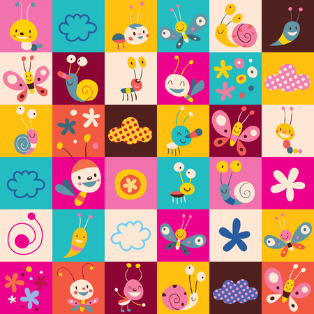 bugs: snails, butterflies, bugs, flowers kids pattern