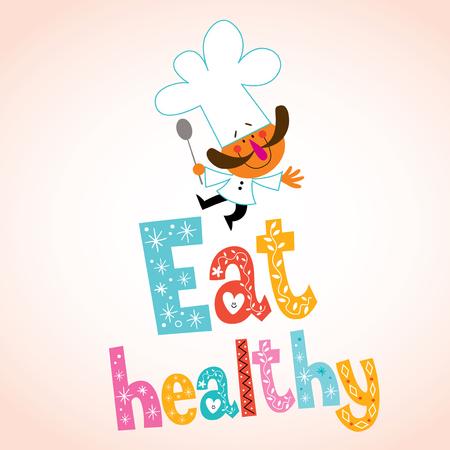 Mangez de type décoratif sain avec caractère chef Vecteurs