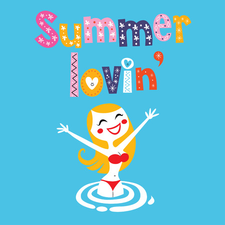 traje de bano: Muchacha del verano amante Vectores