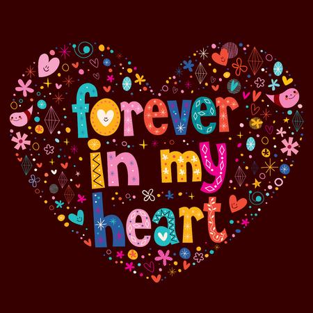 Forever in my heart love vector Illustration
