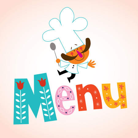 recipe book: Menu decorative lettering with chef character Illustration