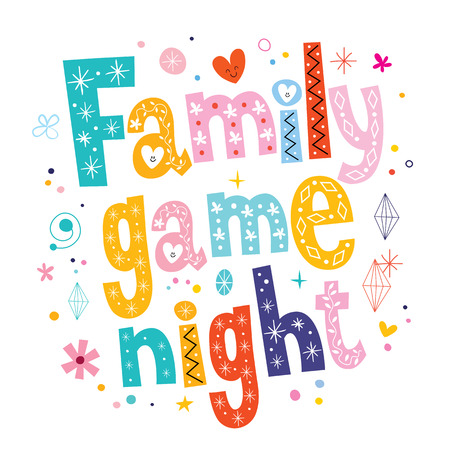 家族ゲームの夜  イラスト・ベクター素材
