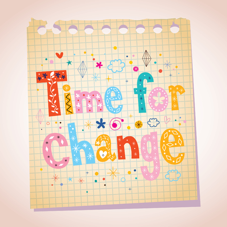note pad: Time for change note pad paper illustration Illustration