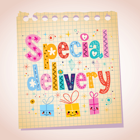 Special delivery note pad paper illustration