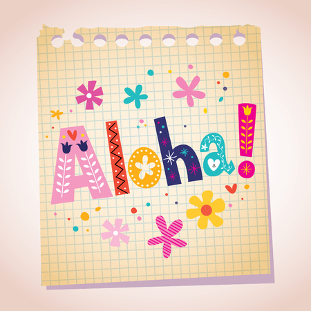 note pad: Aloha note pad paper illustration Illustration
