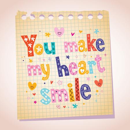 note paper: You make my heart smile note paper illustration Illustration