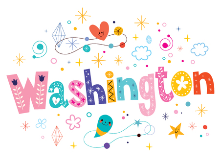Washington decorative type lettering text design Illustration