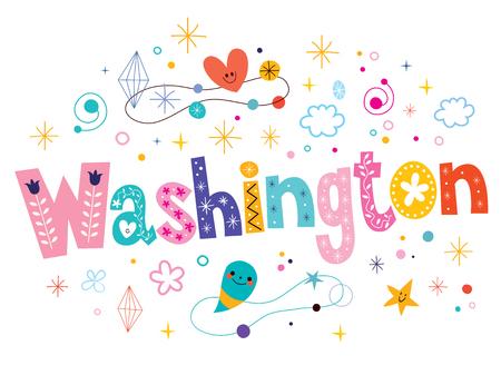 type lettering: Washington decorative type lettering text design Illustration