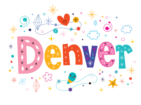 denver colorado: Denver decorative type lettering text design