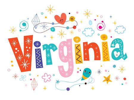 type lettering: Virginia decorative type lettering text design Illustration