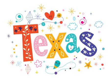 american cities: Texas decorative type lettering text design