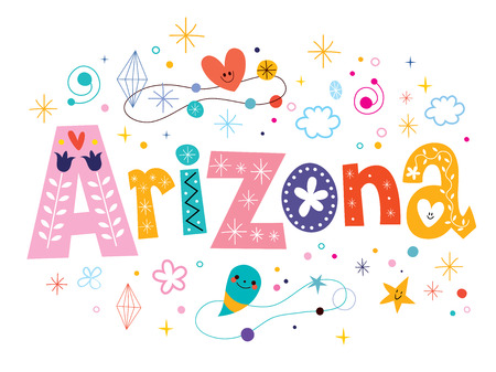 arizona: Arizona decorative type lettering text design Illustration