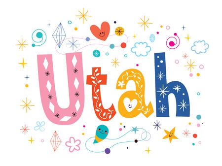 type lettering: Utah decorative type lettering text design