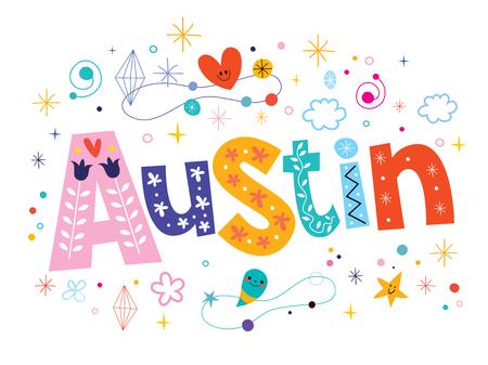 type lettering: Austin decorative type lettering text design