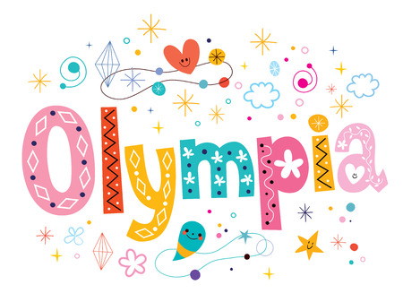 type lettering: Olympia decorative type lettering text design Illustration