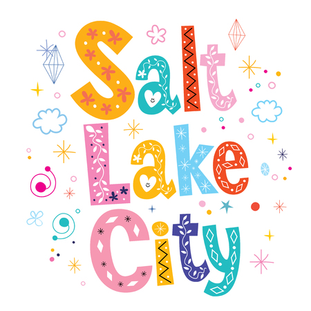 type lettering: Salt Lake City decorative type lettering text design Illustration