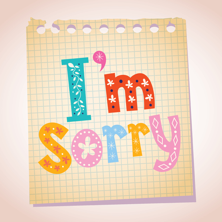 I'm sorry note pad paper illustration