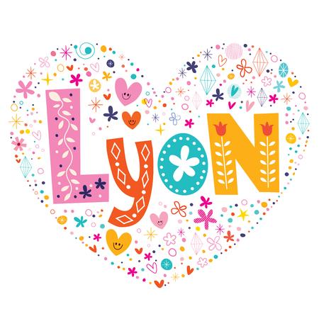 type lettering: Lyon heart shaped type lettering vector design