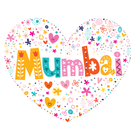 type lettering: Mumbai heart shaped type lettering vector design