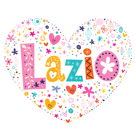 shaped: Lazio heart shaped type lettering vector design