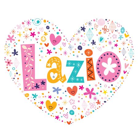 lazio: Lazio heart shaped type lettering vector design