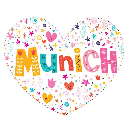 munich: Munich heart shaped type lettering vector design