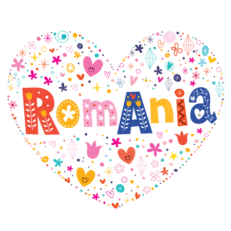 country flowers: Romania heart shaped type lettering vector design