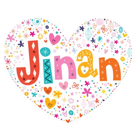 type lettering: Jinan heart shaped type lettering vector design Illustration
