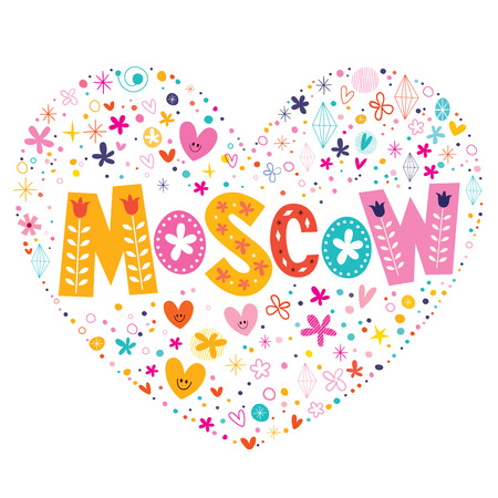 type lettering: Moscow heart shaped type lettering vector design