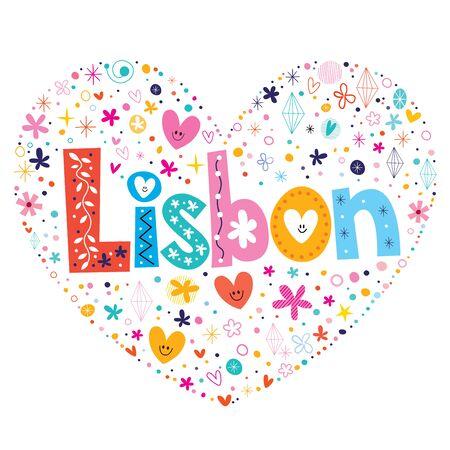 lisbon: Lisbon heart shaped type lettering vector design Illustration