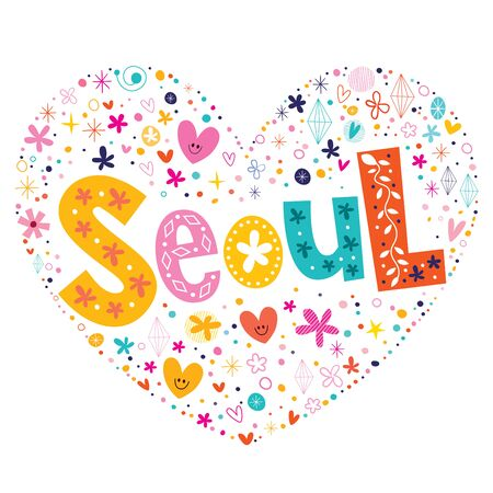type lettering: Seoul heart shaped type lettering vector design