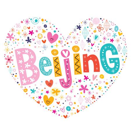 type lettering: Beijing heart shaped type lettering vector design