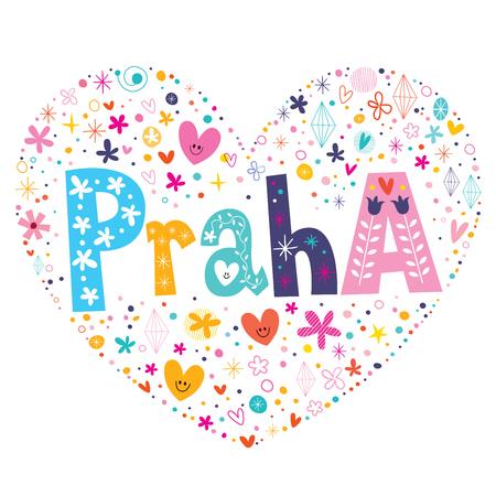 praha: Praha - Prague heart shaped type lettering vector design