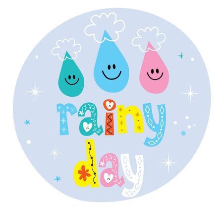 rain drop: rainy day decorative type design with rain drop characters