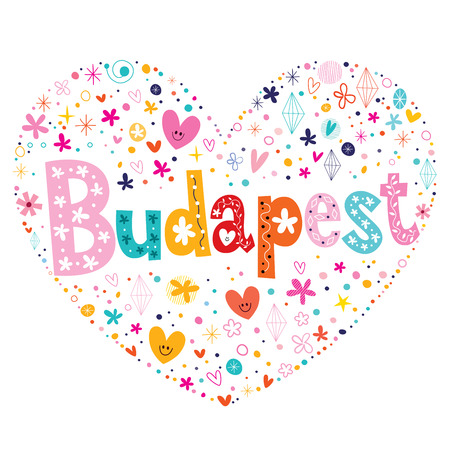 shaped: Budapest heart shaped type lettering vector design
