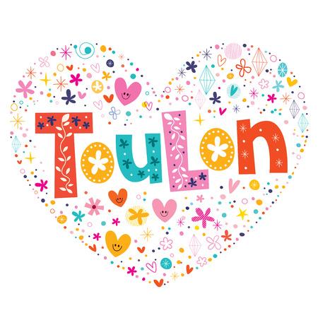 toulon: Toulon heart shaped type lettering vector design