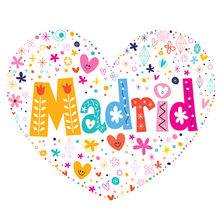 type lettering: Madrid heart shaped type lettering vector design