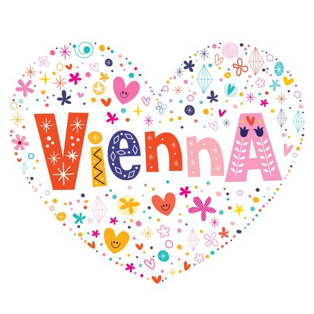 voyage: Vienna heart shaped type lettering vector design Illustration