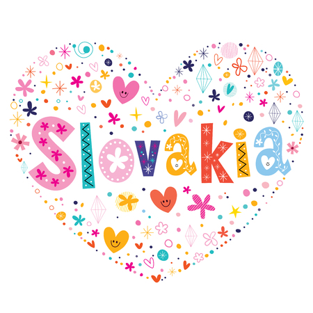 type lettering: Slovakia heart shaped type lettering vector design