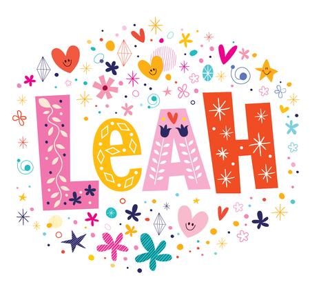 leah: Leah girls name decorative lettering type design Illustration