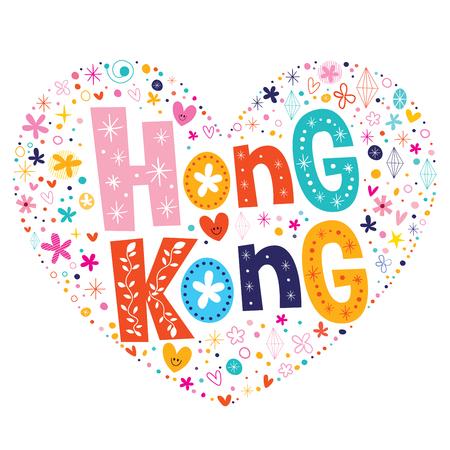 shaped: Hong Kong heart shaped type lettering vector design
