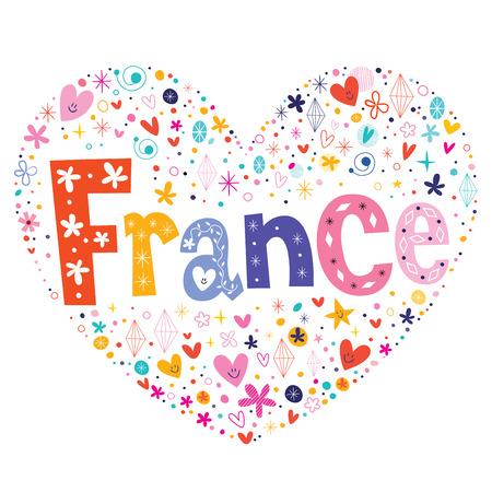 shaped: France decorative lettering heart shaped design Illustration