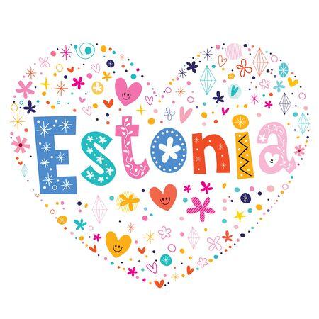 type lettering: Estonia heart shaped type lettering vector design