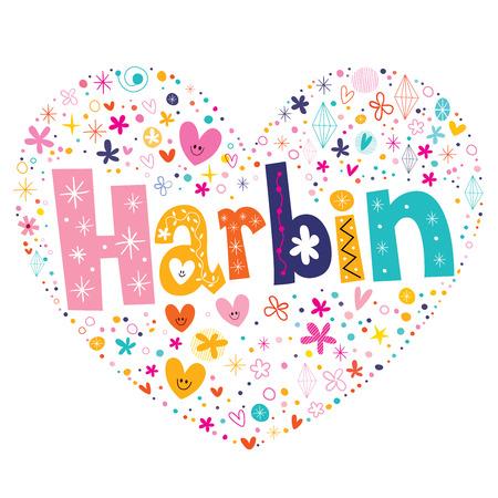 type lettering: Harbin heart shaped type lettering vector design