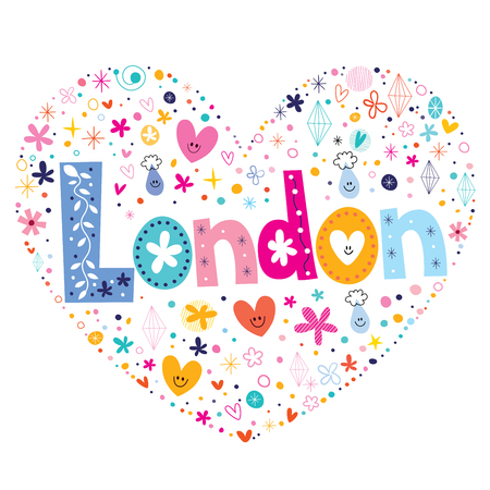 britain: London heart shaped type lettering vector design