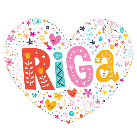 shaped: Riga heart shaped type lettering vector design