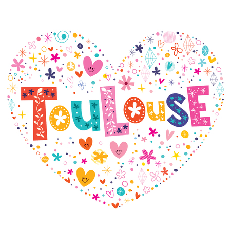 toulouse: Toulouse heart shaped type lettering vector design Illustration